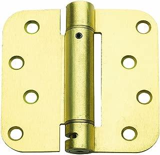 Global Door Controls 4 in. x 4 in. Satin Brass Steel Spring Hinge with 5/8 in. Radius - Set of 3