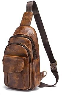 Le'aokuu Herren Echtes Leder Hüfttasche Bauchtsche Brusttasche Crossbody Bag Sling Bag Schultertsche Brustbeutel Freizeit Reisen Outdoor Tasche 8013 1 8013 Gold