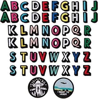 Alphabet Letter Patches Colorful English Letters UFO Alien Patch Embroidered Iron on Patch Appliques Badge Decorative Repair Patches DIY Sew on Patches for Jackets Hat Jeans Bag (52pacs+ 2 Pieces)