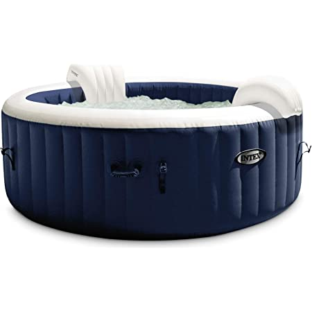 """Intex 28431E PureSpa Plus 85"""" x 28"""" 6 Person Outdoor Portable Inflatable Round Hot Tub Spa with 170 Bubble Jets, Cover, LED Light, & Heater Pump, Navy"""