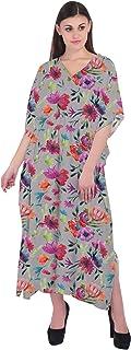 RADANYA Women Cotton Caftan Casual Loose 3/4 Sleeve Cover Up Summer Beach Kaftan Dress