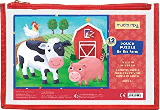 """Mudpuppy On the Farm Pouch Puzzle – 12 Pieces, 14"""" x 11"""", Great for Kids Ages 2-4 – Travel-Friendly, Reusable, Zippered Po..."""