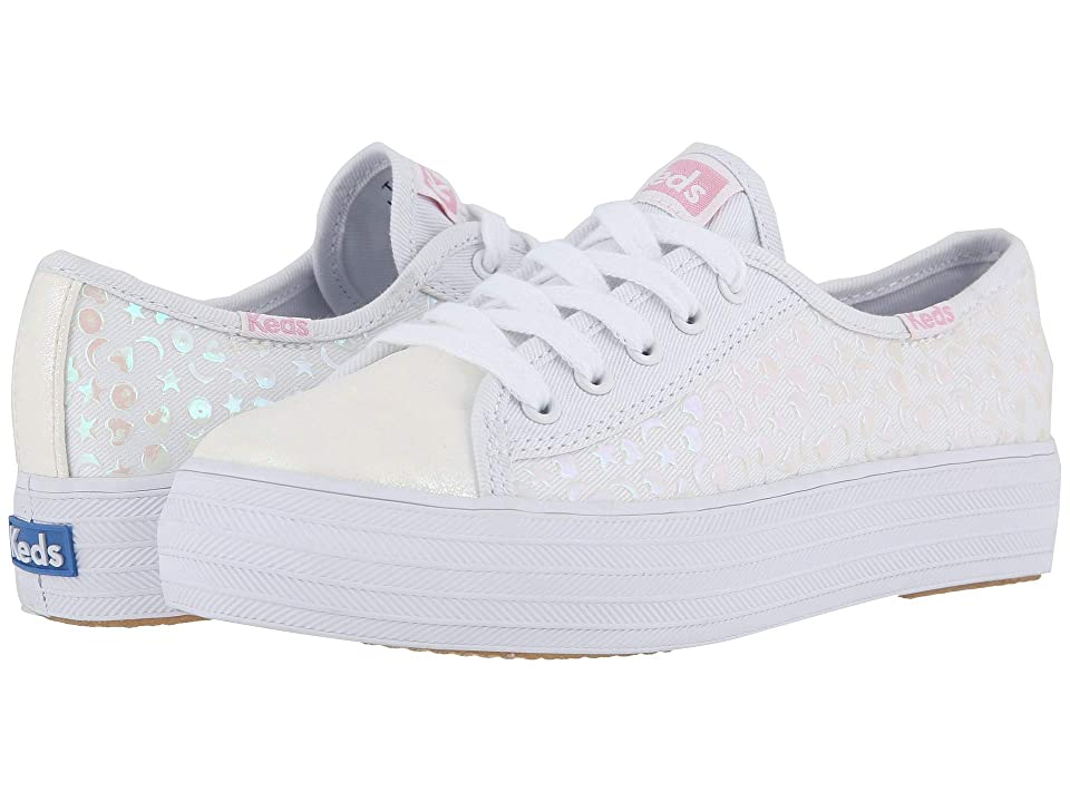 Keds Kids Triple Kickstart (Little Kid/Big Kid) (White Stud) Girl
