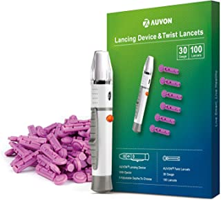 AUVON Lancets and Lancing Device Combo (30 Gauge, 100 Lancets), 30G Twist Top Lancets and Lancing Device Kit with Less Pain Design for Blood Sugar Level Monitoring and Glucose Testing