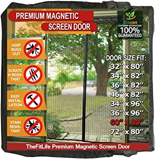 TheFitLife Magnetic Screen Door - Heavy Duty Mesh Curtain with Full Frame Hook and Loop Powerful Magnets that Snap Shut Automatically - Black 62''x81'' - Fits doors up to 60''x80'' Max