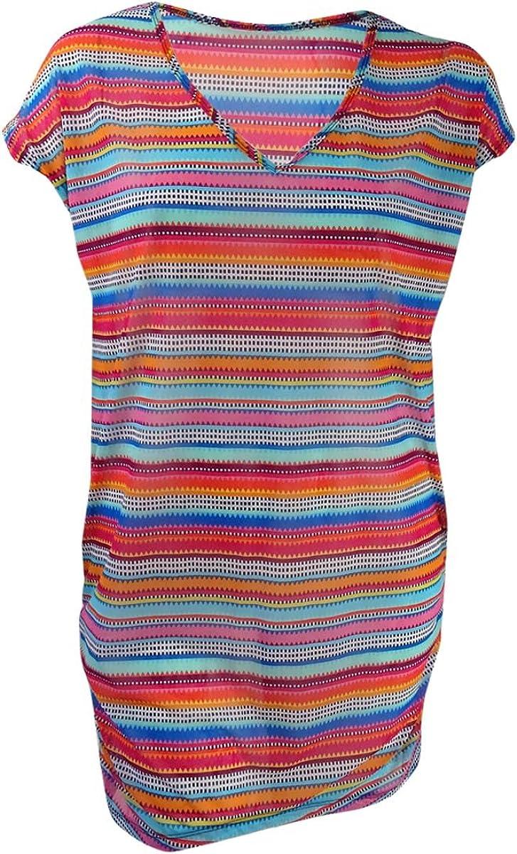 Anne Cole Women's Plus-Size Triangle Stripe Mesh Cover Up