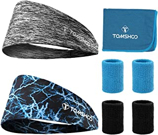 Sport Athletic Headbands, Sports Wristbands, Cooling Towel Elastic Wicking Non Slip Lightweigh 8 Pcs Fitness Sweatband Set for Running, Yoga, Workouts and Gymnastic