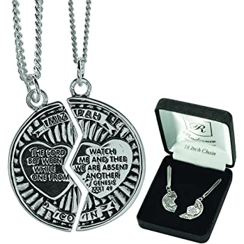Dicksons Two-Piece Mizpah Coin with Hearts Sterling Silver 18-Inch and 24-Inch Pendant Necklace
