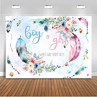 Mocsicka Dreamcatcher Boy or Girl Backdrop 7x5ft Feather Flower Gender Reveal Party Decoration Supplies Boho Tribal Party Gender Surprise Banner Photography Background