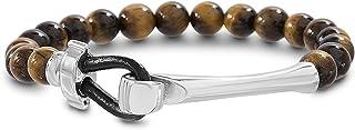 Steve Madden Stainless Steel Brown Beaded Hook Bracelet for Men