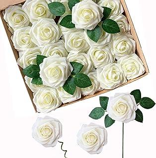 ACDE Fleurs Artificielles, Roses Artificielle 25PCS Mousse Rose Faux Regard Réel avec Feuille et Tige Ajustable pour DIY M...