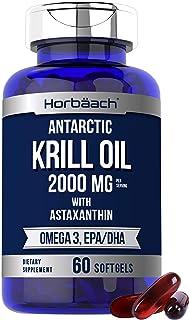 Horbaach Antarctic Krill Oil 2000mg   60 Softgel Capsules   Omega 3, EPA, DHA Supplement   with Astaxanthin   Non-GMO, Glu...