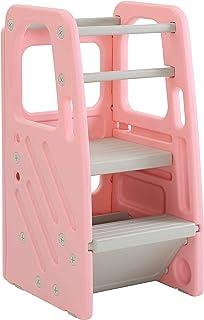 SDADI Childrens Step Stool with Three Adjustable Heights, Plastic Kids Stool Pink PLT01PK