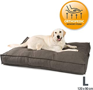 JAMAXX Premium Hundekissen in edler Leinen-Optik/Orthopädisch Memory Visco Schaumstoff/Waschbar Abnehmbarer Bezug/Wasserabweisender Innenbezug - Hundebett PDB1005