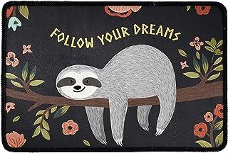 Pensura Welcome Doormat Entrance Bedroom Bathroom Kitchen Print Cute Sloth Indoor Outdoor Non Slip Rubber Durable Washable...