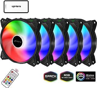 upHere 120mm - RGB LED Ventilador de PC - Ventilador para Ordenador con Control Remoto, Paquete de 5(PF1206-5)