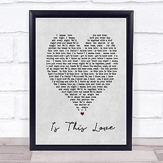 123 BiiUYOO is This Love Bob Marley Grey Heart Song Lyric Print 12