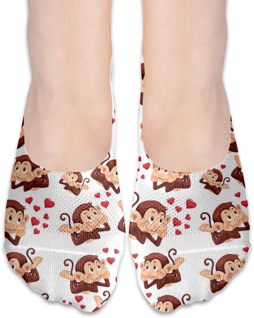 FriendEver No Show Socks,Cute Love Monkey Casual Invisible Flat Socks,Breathable Anti-Odor Low Cut Women Cotton Sox,Non Slip Liner Sock