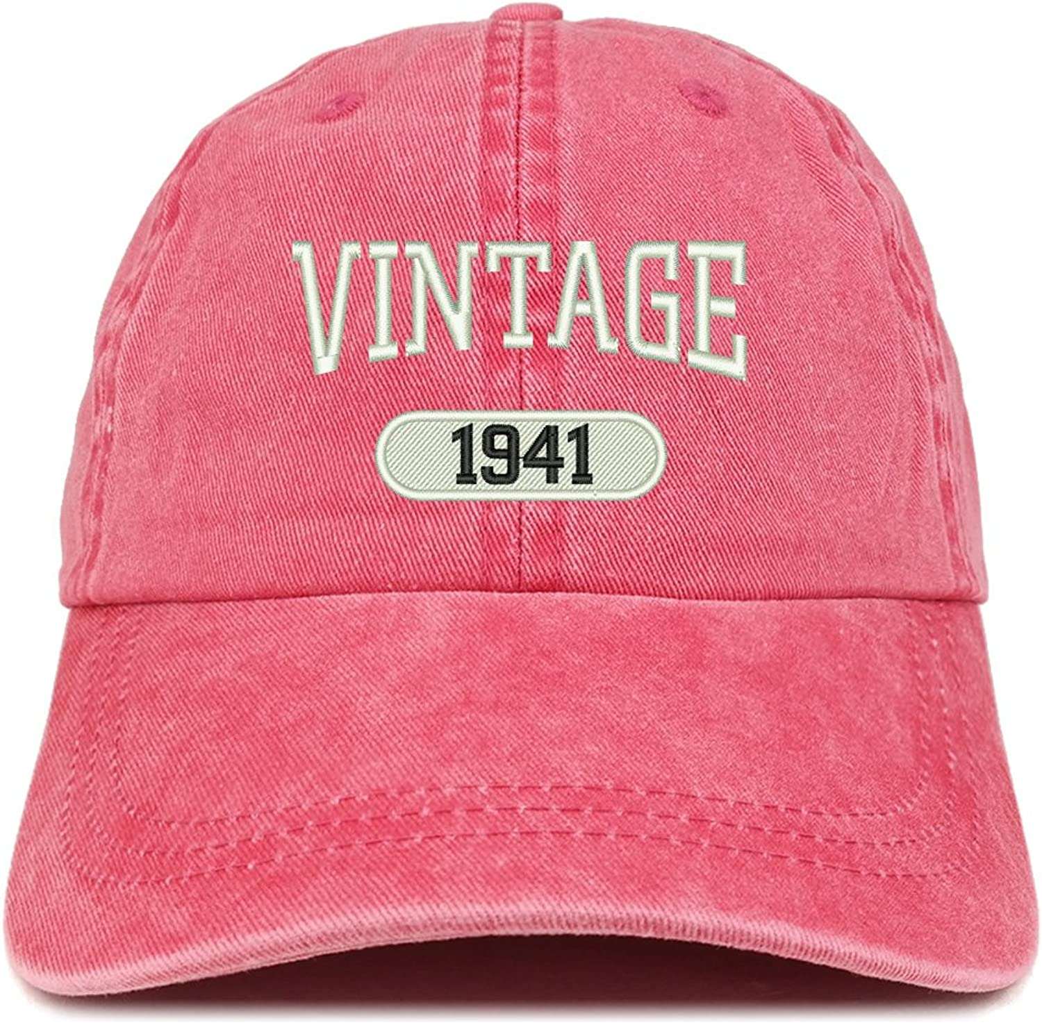 Trendy Apparel Shop Vintage 1941 Embroidered 78th Birthday Soft Crown Washed Cotton Cap