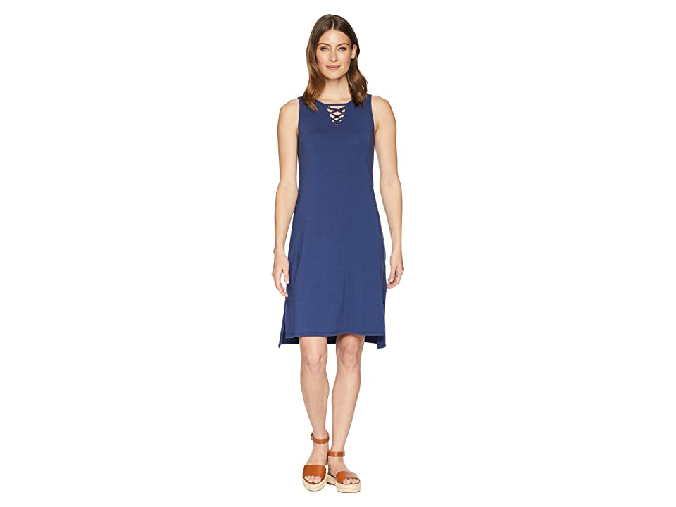Mod-o-doc Cotton Modal Spandex Jersey Lace-Up Tank Dress (New Navy) Women