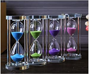 HUIJUNWENTI Round hourglass timer, available for 15 minutes, home decor, birthday present,Blue, Green, Pink, Purple Living room decoration