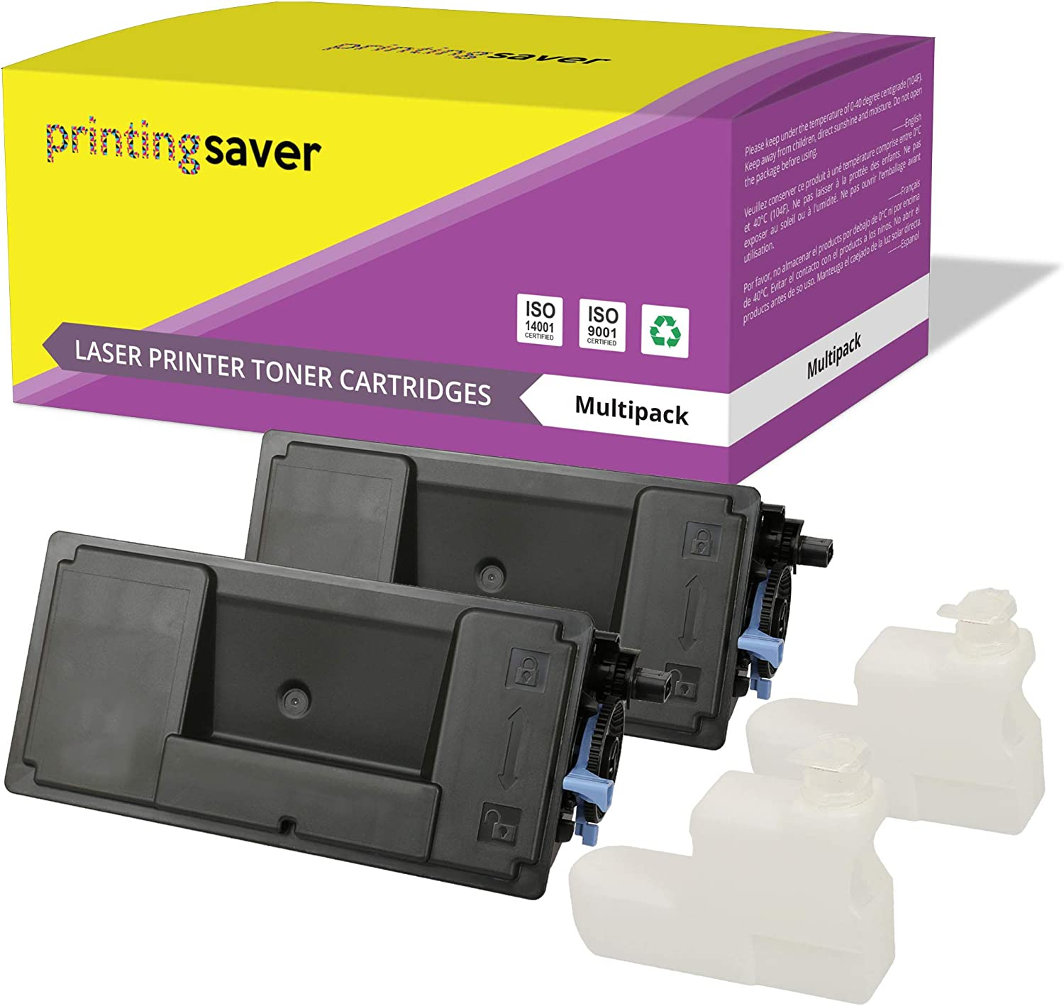 Printing Saver 2X Black Compatible Toners for KYOCERA ECOSYS P3045dn, P3050dn, P3055dn, P3060dn Printers