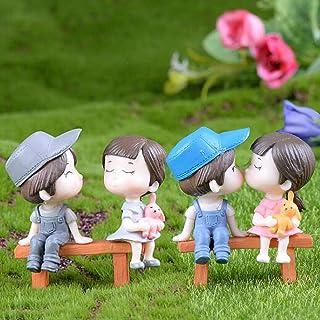 SweetGifts Miniature Couple Figurines Kiss Dolls Sitting Seat Landscape Ornaments Mini Resin Fairy Garden Bonsai Dollhouse...