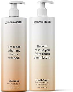 Shampoo e balsamo con olio di argan grandi 2 x 500ml | Capelli danneggiati, cuoio capelluto prurito, crescita dei capelli,...