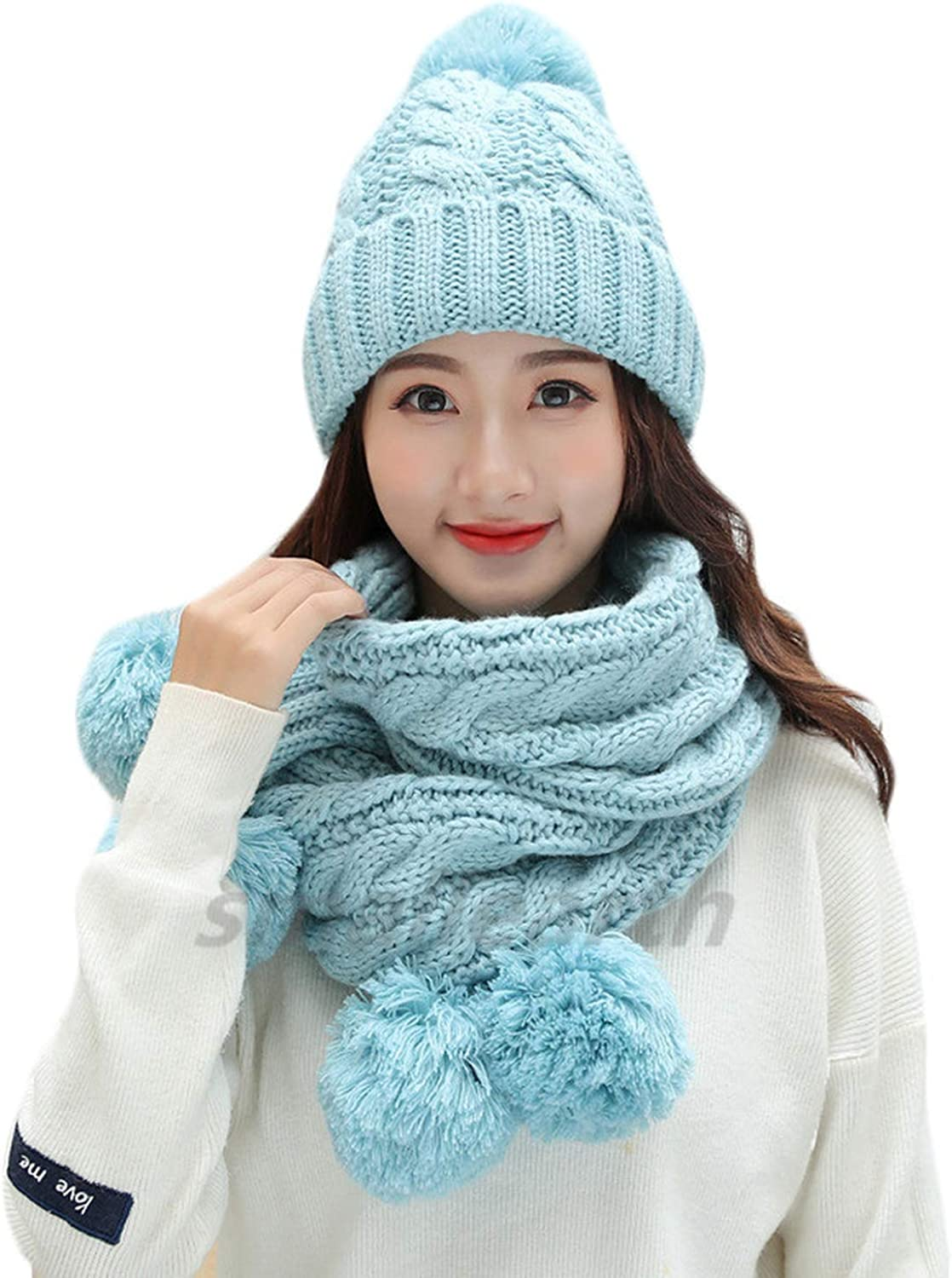 2 Pieces Set Winter Pompom Hat And Scarf Set For Women Girls Cotton Warm Caps Female Winter Casual Solid color Knitted Hats