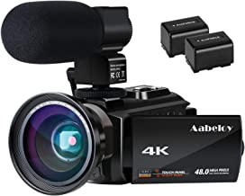 4K Camcorder, Aabeloy Vlogging Video Camera Ultra HD Wi-Fi Digital Camera 48.0MP 3.0 inch Touch Screen Night Vision 16X Di...