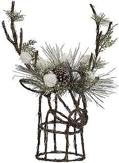 DermaPAD Rattan Deer Christmas Tree Topper with Greenery