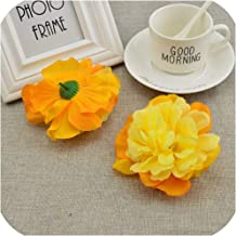 April With You 5pcs 10CM Silk Roses Wedding car Decoration Bridesmaid Wrist Flower Bouquet Peony Artificial Flowers for Home DIY Accessories,Yellow