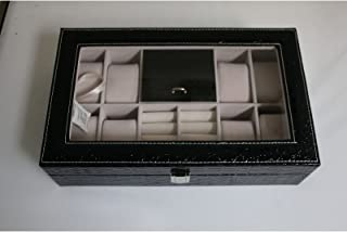 Focuseparts FOCUS EPARTS174; 8 Slot 10 Rings Black Crocodile Leather Jewelry Box for Watch Ring Glass Top Display