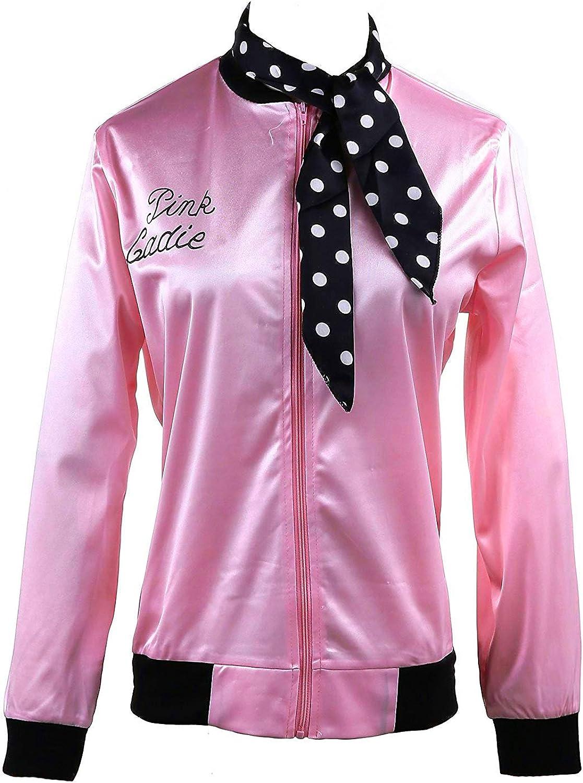 1950s Pink Ladies Satin Jacket Neck Scarf T Bird Women Danny Fancy Dress