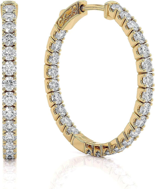 1 Max 63% OFF Carat Diamond Inside Out Hoop 14k Yellow in Sales for Women Earrings