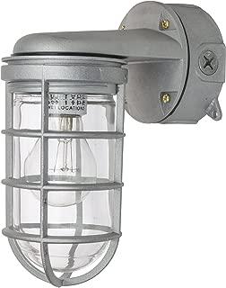 Sunlite 04902-SU Vaporproof Industrial Fixture, Wall Mount, Medium Base Socket (E26), 150W Max, 120 Volt, Outdoor, UL Listed, Clear Glass Jar, 5.5-Inch, Metallic Finish