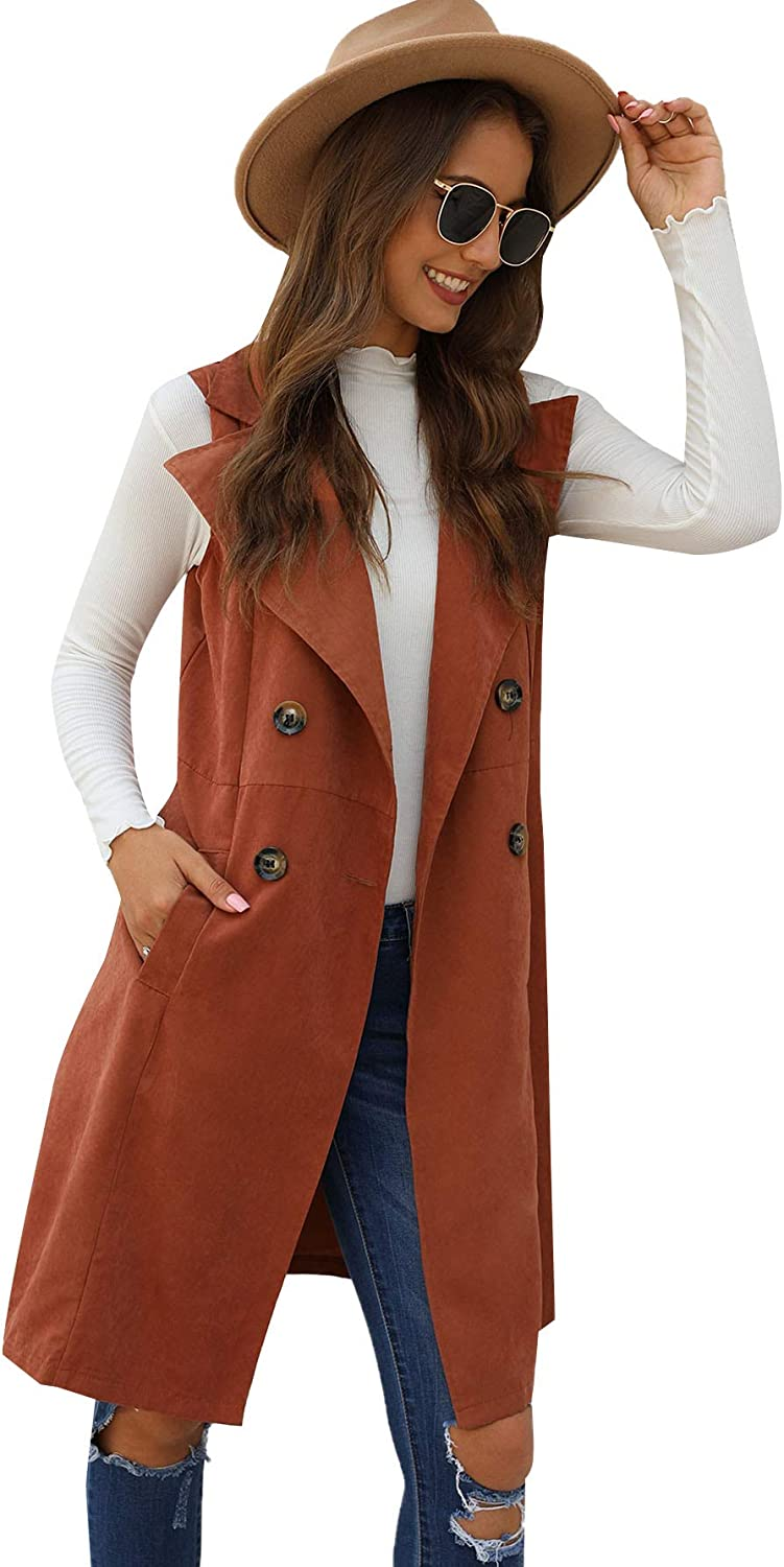 SOLY HUX Women's Sleeveless Lapel Double Breasted Long Trench Vest Jacket Outwear