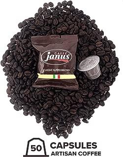 Janus Coffee Pods Classico Gusto Deciso – Medium Roast Authentic Artisan Italian coffee - 50 Espresso Capsules for Nespresso Originalline Machines – 70% Robusta 30% Arabica Super Rich Ristretto Aroma