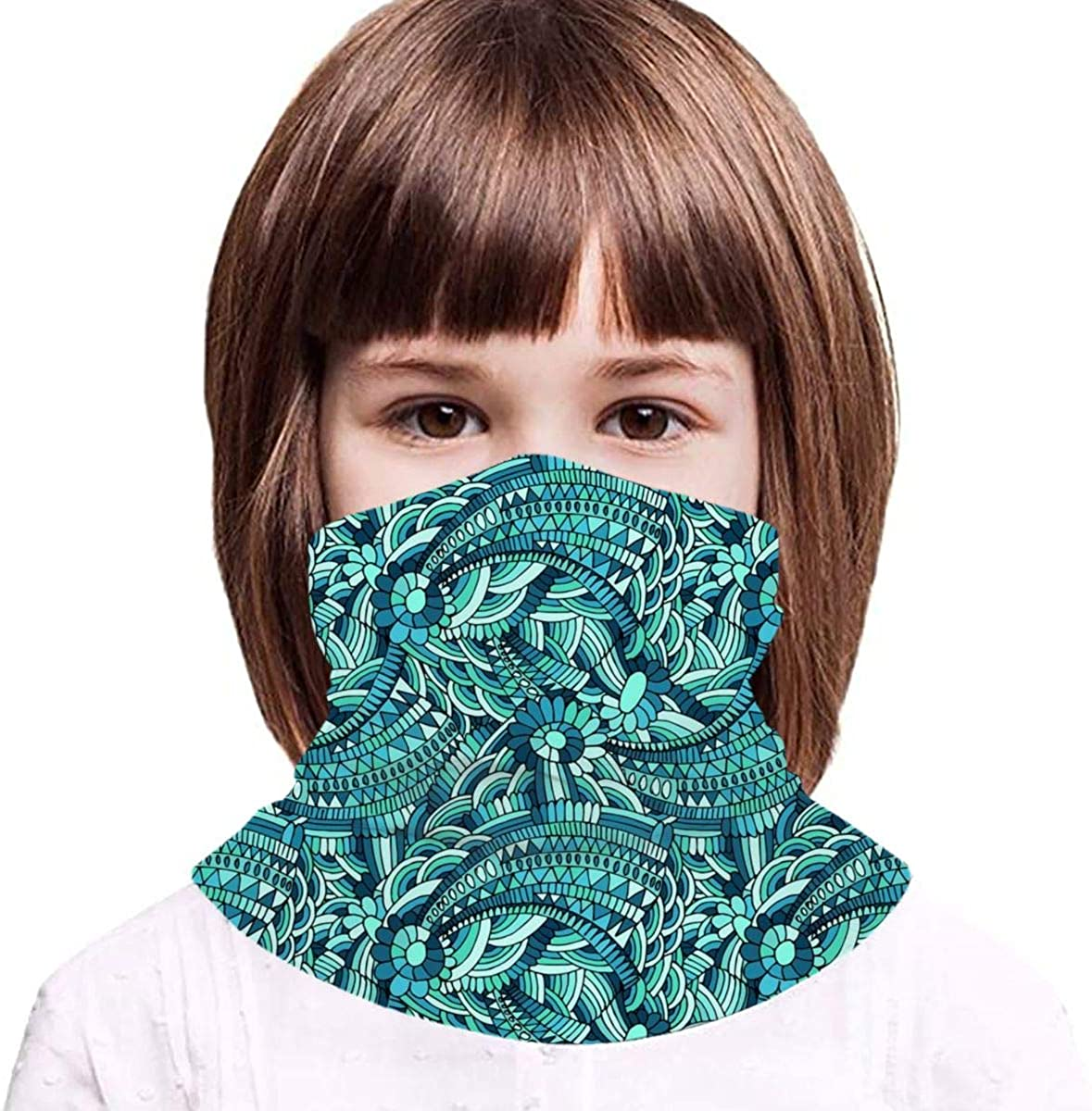 Blue Waves Kids Face Mask Dust Sun UV Protection Neck Gaiter Balaclava Face Cover Scarf Summer Breathable for Cycling Fishing Outdoors
