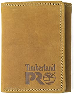 Timberland PRO Men's Leather Trifold Wallet with ID Window, Wheat/Pullman
