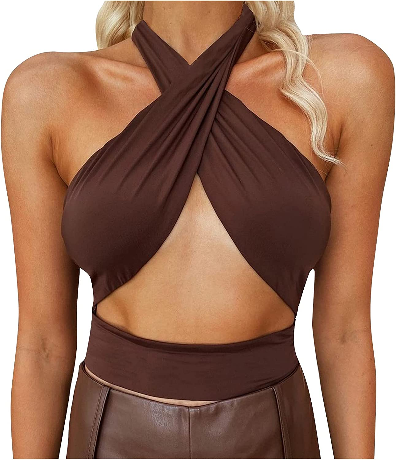 Women's Criss Cross Cut 67% OFF of fixed price Out Crop Tops Bandage Halter Super popular specialty store Sleeveless