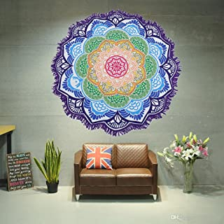 Large Round Lotus Flower Mandala Tapestry Beach Towel & Blanket Table Cloth Fringe Tassel Beach Blanket