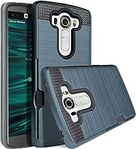 LG V10 Case, Jwest V10 Wallet Card Slot [Shockproof][Drop Protection] Metal Brushed Texture Non-Slip Pattern Hybrid Dual Layer Protective Cover Holder Slim Wallet Case Cover For LG V10, Navy Blue
