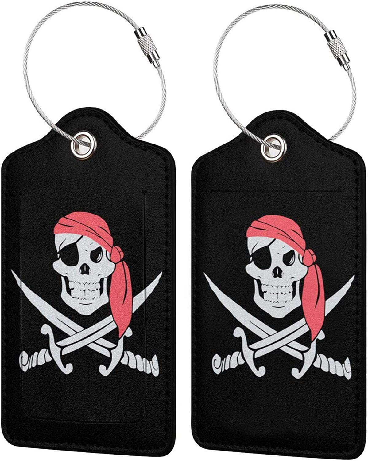 Pirate Flag PU Leather Baggage Bag with Super sale Luggage Rectangle Pr tag Inexpensive
