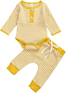 2Pcs Newborn Infant Baby Boy Girl Clothes Cute Striped top Sweater Fall Winter Suit Outfits