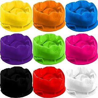 Blulu 9 Pieces Outdoor Multifunctional Sport Headwear, Elastic Seamless Headband Face Bandana Mask, Neck Balaclava for Cyc...