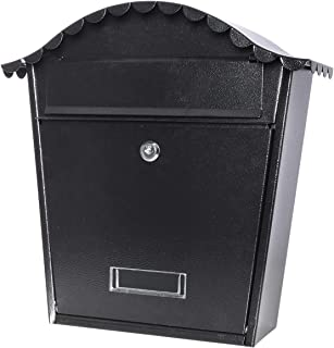 Locking Mailbox Wall Mounted Vertical– Jssmst Mail Boxes Large Capacity, 14.6 x 5.4 x 13.2 Inch, Black New