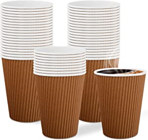 Paper Cups, 50 Pcs 12oz Recyclable Coffee Cups Insulated Kraft Ripple Wall Cups Disposable To Go Paper Coffee Cups Hot Beverage Cups for Hot and Cold Drinks