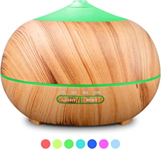 RENWER Essential Oil Diffuser Wood Grain Cool Mist Aromatherapy Humidifier 400ml Ultrasonic Aroma Humidifier with 7 Colors LED Lights & 4 Timers for Bedroom, Office, Fitness Room, Yoga & Spa