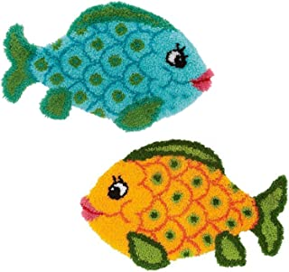 GUARDUU Tapis Faire De L'artisanat Kits De Tapis À Crochet À Crochet Inachevé avec Toile De Motif Imprimé Coloré pour La D...